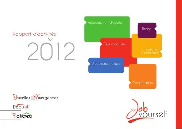 Rapport d'activités 2012 Autocréation d'emploi Test d'activité Accompagnement Coopération Création d'entreprise Réseau