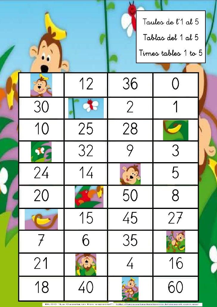 Taules dede l'1 5 5                Taules l'1 al al               Tablas del 1 al 5                Tablas del 1 al 5      ...