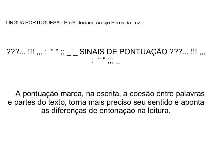 Sinais Pontuação Língua Portuguesa