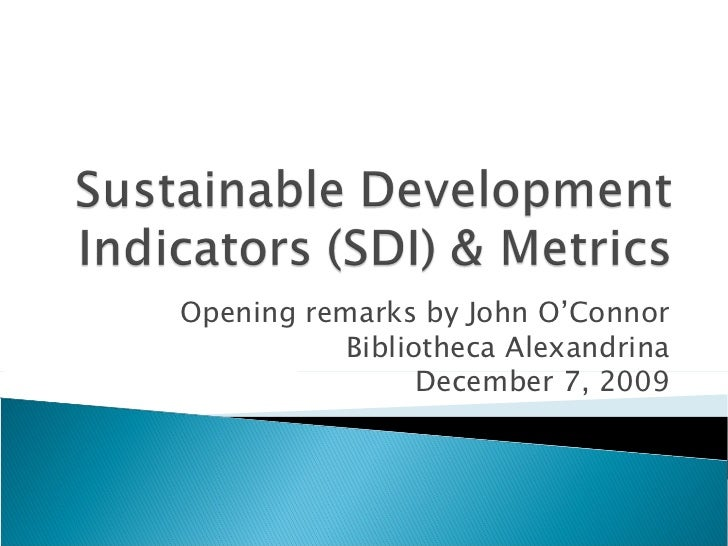 Sustainable Development Indicators & Metrics
