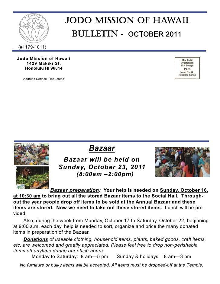 Jodo Mission of Hawaii Newsletter - October 2011