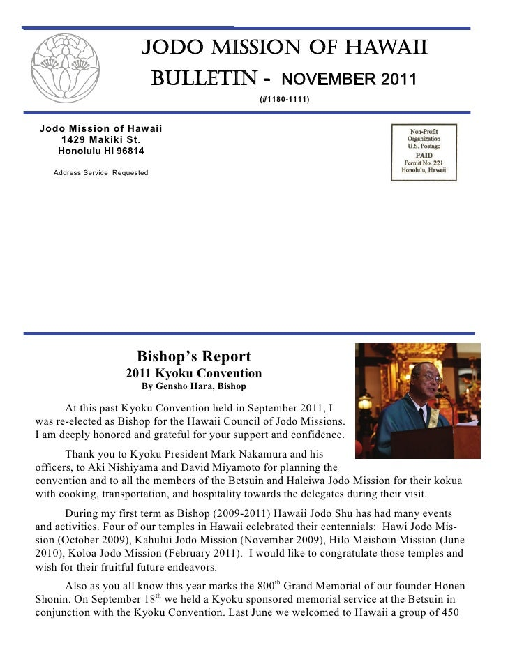 JODO MISSION OF HAWAII                               BULLETIN - NOVEMBER 2011                                             ...