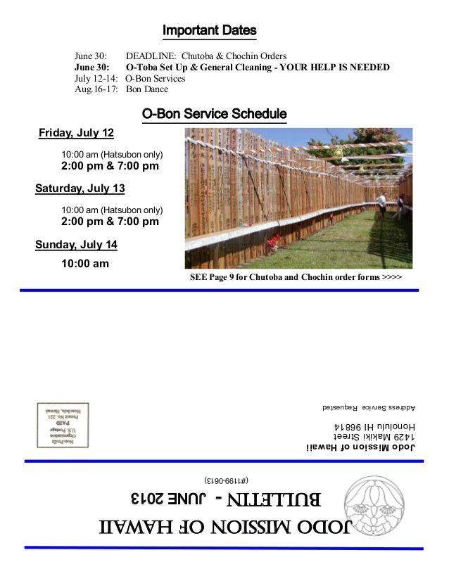 Jodo Mission Bulletin - June 2013
