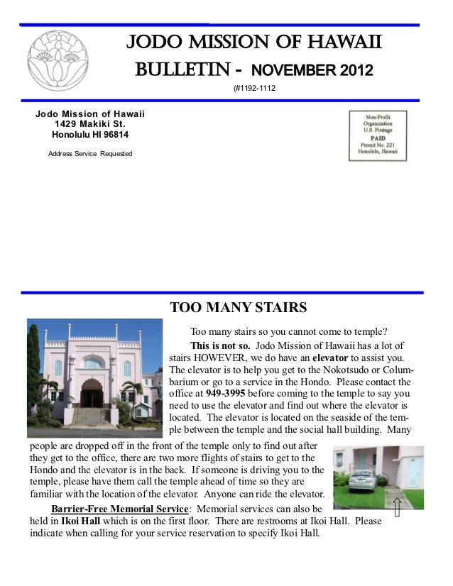 Jodo Mission of Hawaii Bulletin - November 2012