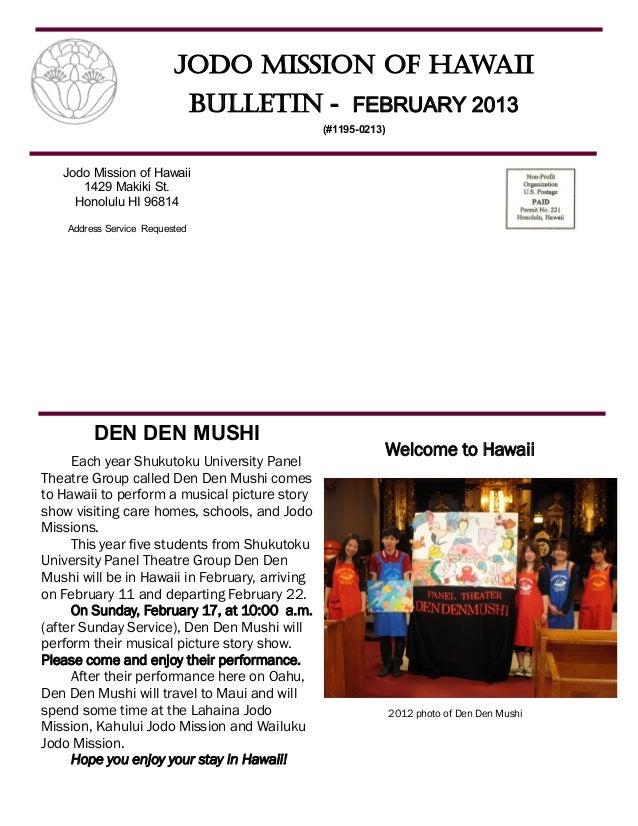 Jodo Mission of Hawaii                                Bulletin - FEBRUARY 2013                                            ...