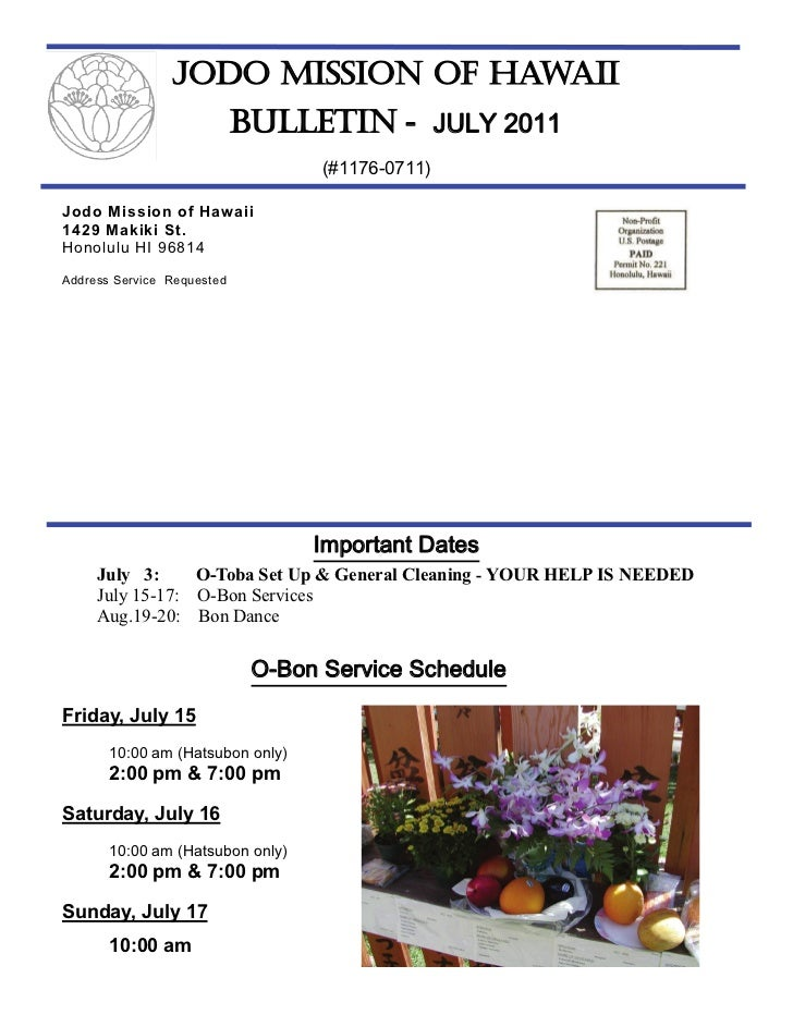 Jodo Mission Bulletin - July 2011