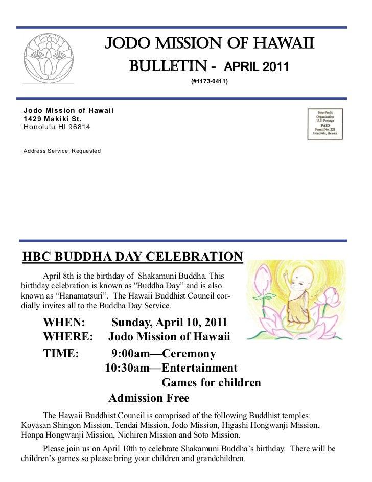Jodo Mission of Hawaii Bulletin - April 2011