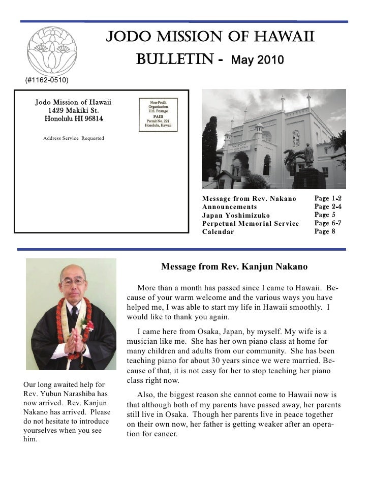 Jodo Mission of Hawaii Bulletin - May 2010