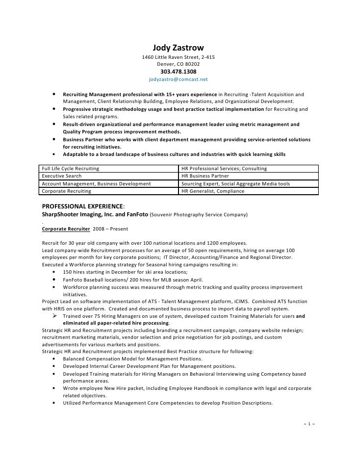 chief recruiter resume commonpenceco - Recruiter Resume Template