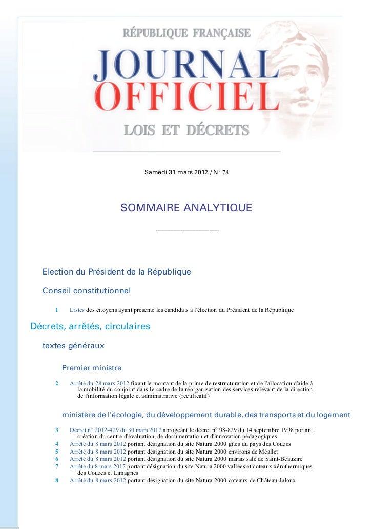 31 mars 2012                          JOURNAL OFFICIEL DE LA REPUBLIQUE FRANCAISE                                         ...