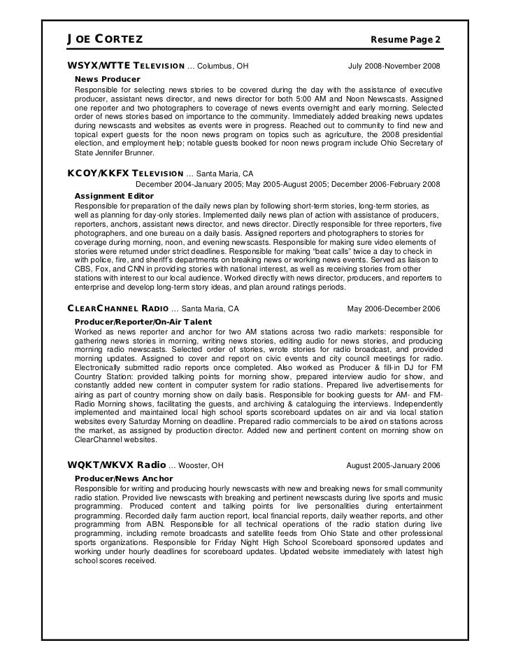 Resume Television Producer. Television And Radio CV Examples ...