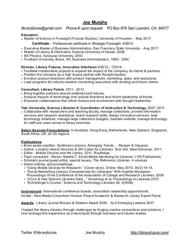 Joe murphy librarian cv resume library future