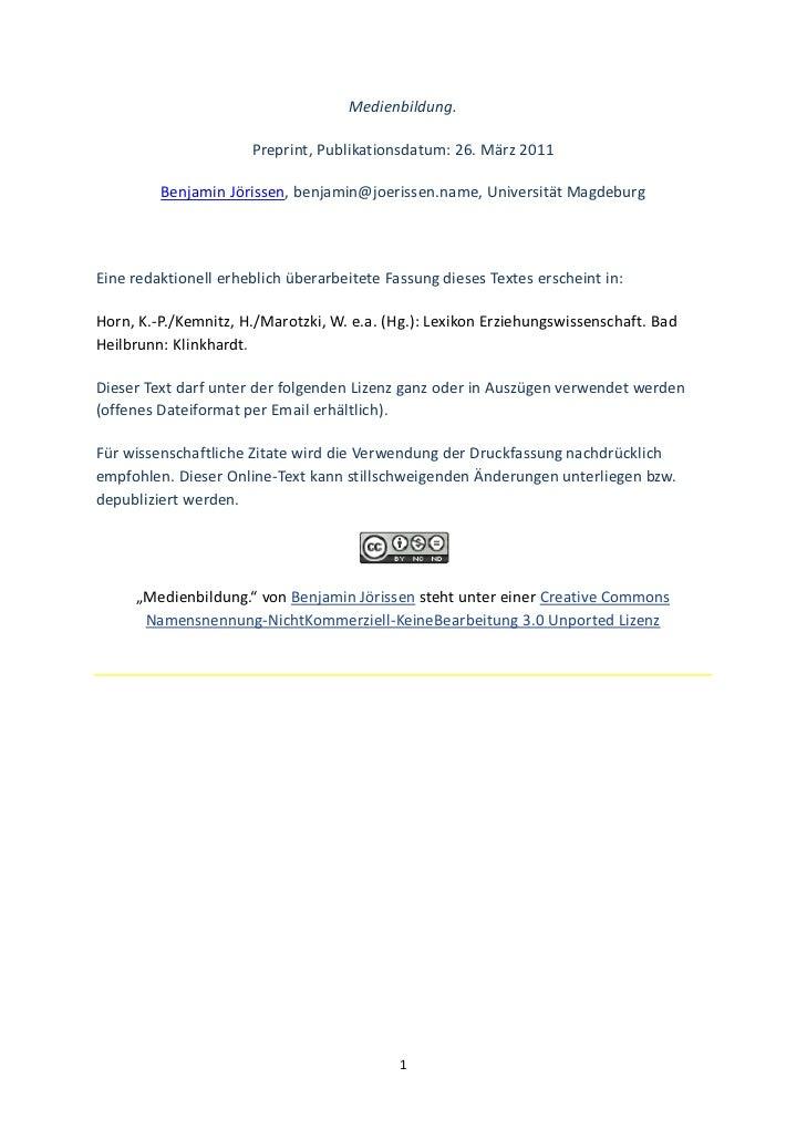 Medienbildung.                       Preprint,Publikationsdatum:26.März2011         BenjaminJörissen,benjamin@joer...