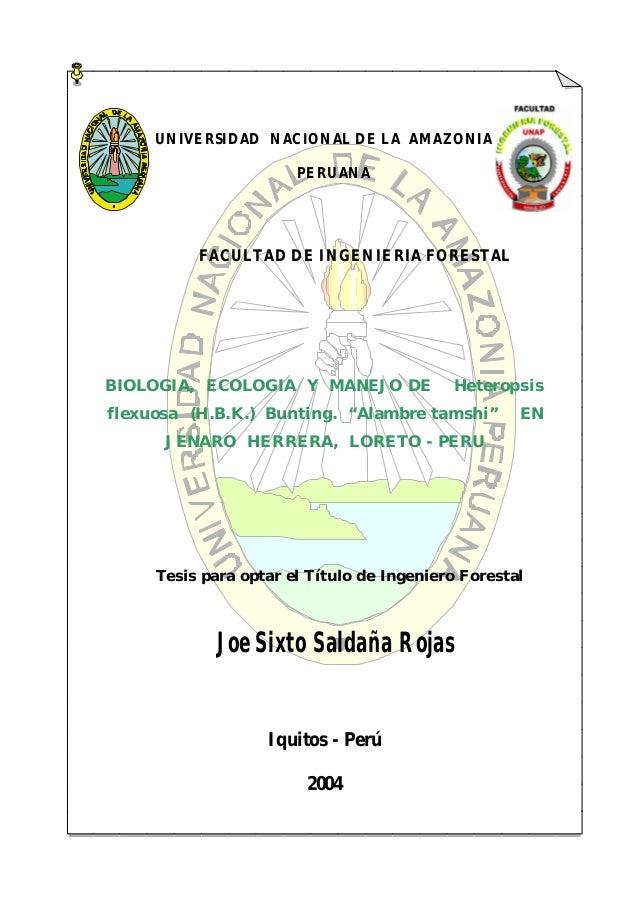 Biología, ecología y manejo de alambre tamshi en Jenaro Herrera