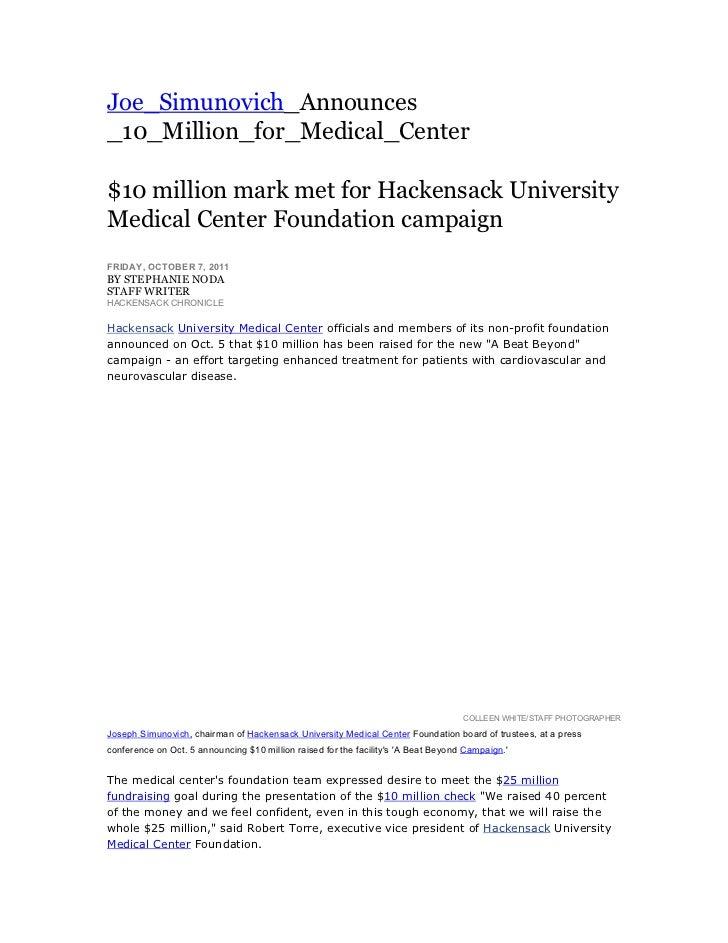 Joe_Simunovich_Announces_10_Million_for_Medical_Center         $10 million mark met for Hackensack UniversityMedical C...