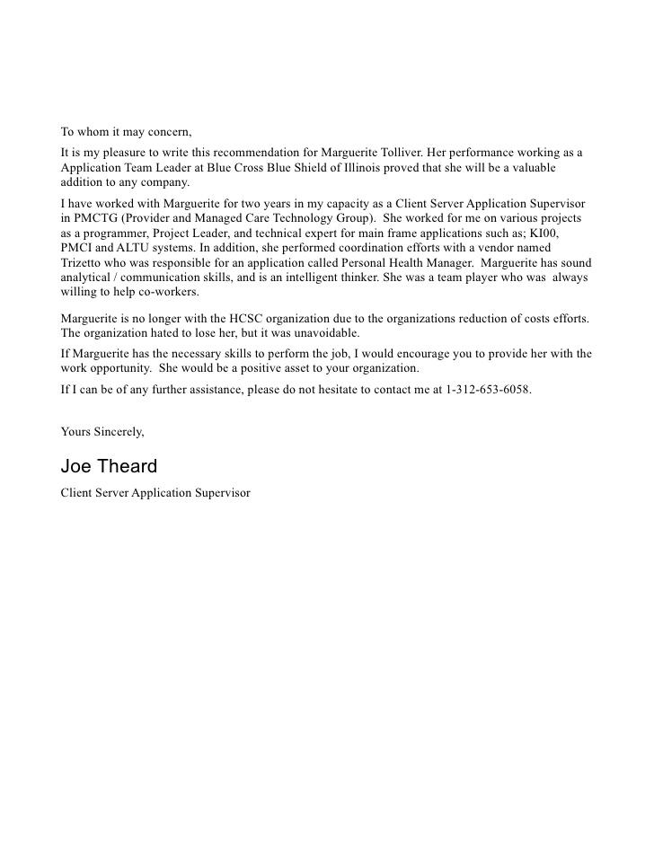 Reference Letter From Supervisor
