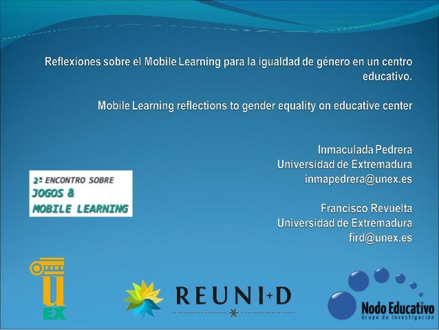 Mobile Learning reflections to gender equality on educative center