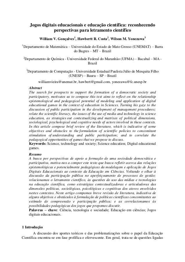Jogos digitais educacionais e educação científica: reconhecendo perspectivas para letramento científico William V. Gonçalv...