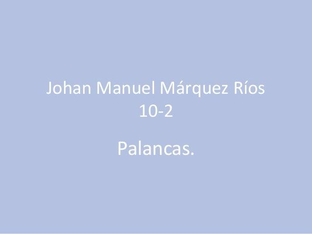 Johan Manuel Márquez Ríos 10-2 Palancas.