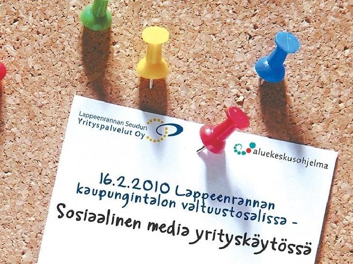 JOHDATUS SOSIAALISEEN MEDIAAN JA PALVELUIHIN                 TOMMI RISSANEN               16.02 2010