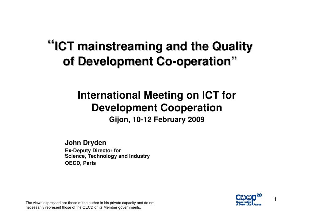 """ICT mainstreaming and the Quality                       of Development Co-operation""                                 Inte..."