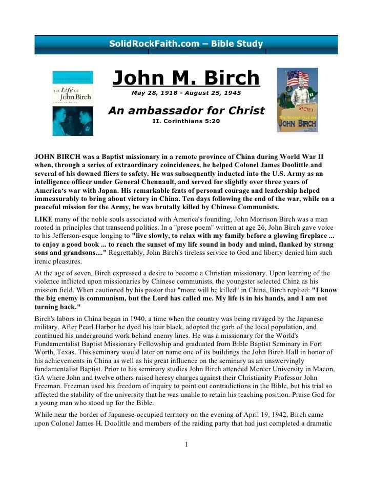 John M. Birch - An ambassador for Christ