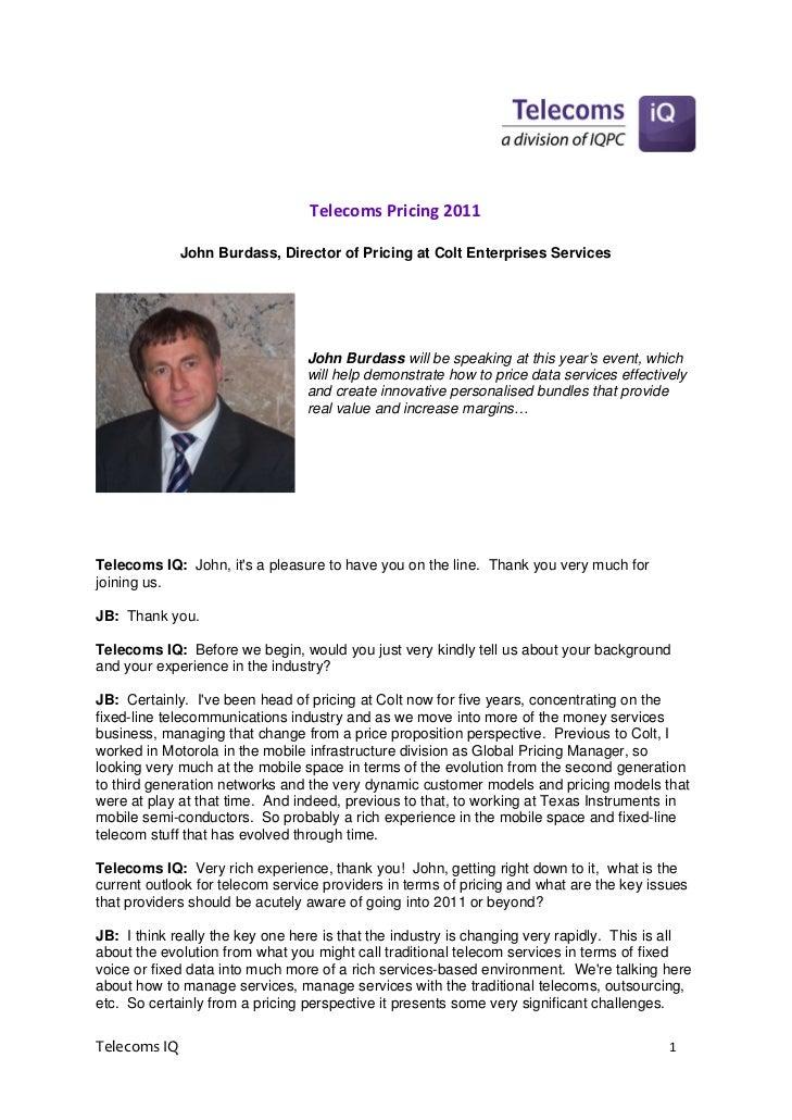 TelecomsPricing2011                                                        John Burdass, Director of Pricing at Colt E...