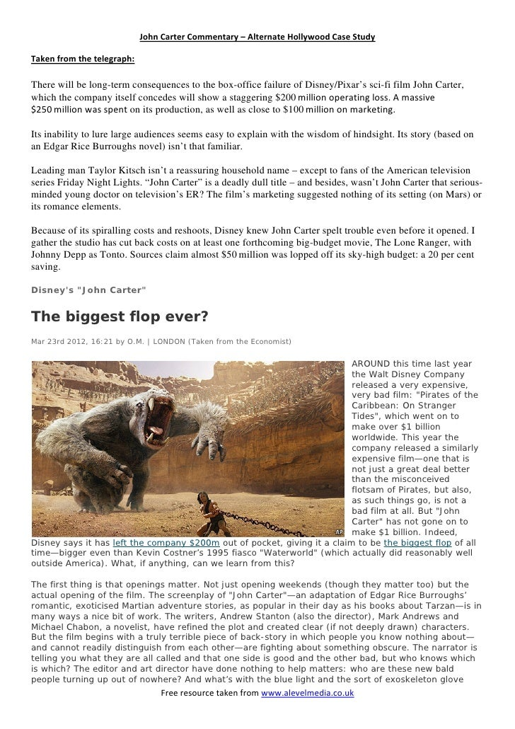 JohnCarterCommentary–AlternateHollywoodCaseStudyTakenfromthetelegraph:There will be long-term consequences to ...