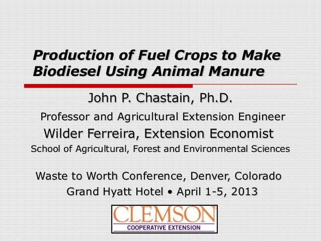 Production of Fuel Crops to MakeProduction of Fuel Crops to MakeBiodiesel Using Animal ManureBiodiesel Using Animal Manure...