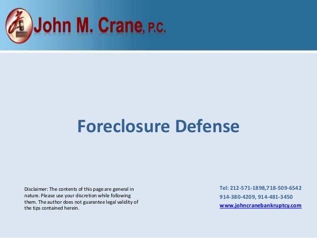 John crane forclosure defense