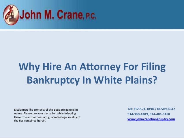 why hire an attorney for filing bankruptcy in white plains