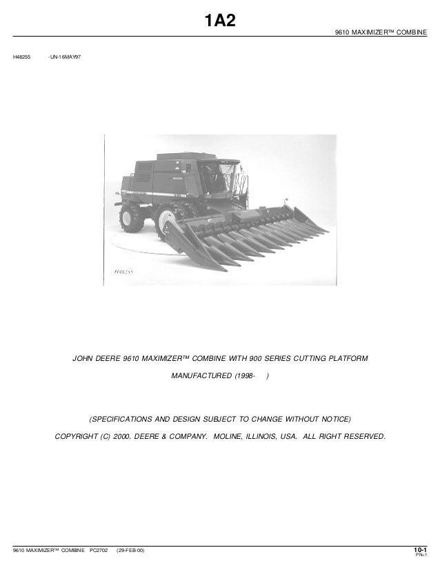John Deere 9610 Maximizer Combine Parts Catalog