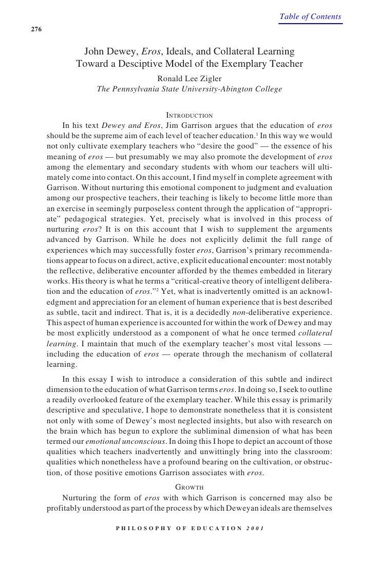Table of Contents 276                                     Dewey, Eros, Ideals                  John Dewey, Eros, Ideals, a...