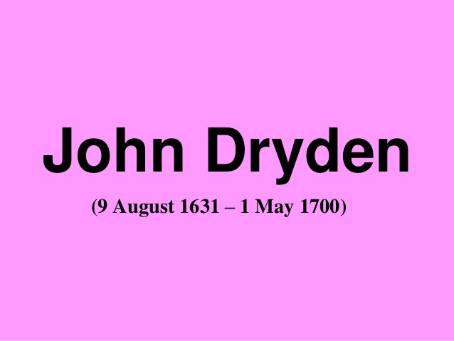 john dryden an essay on dramatic poesy