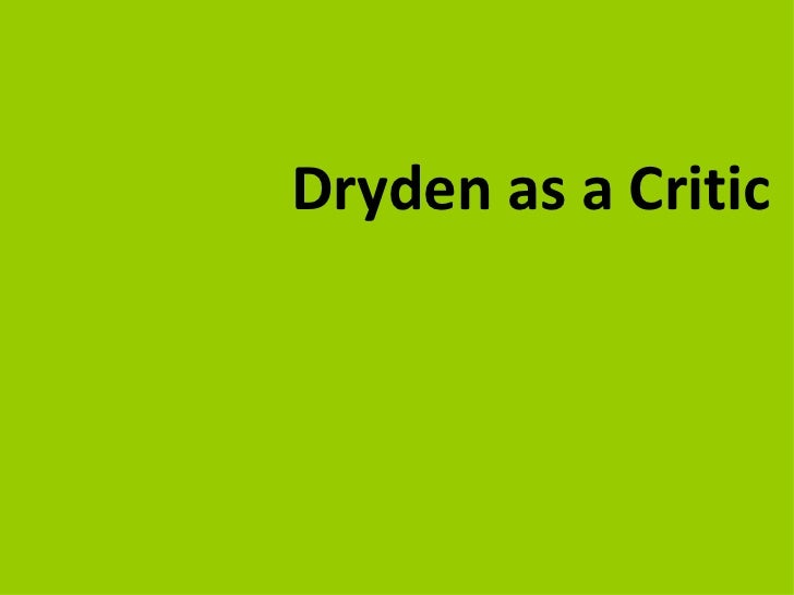 John dryden, an intro