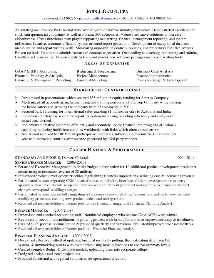 John Gallo Cpa Resume Current