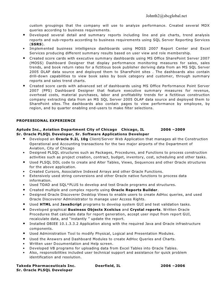business objects report writer resume