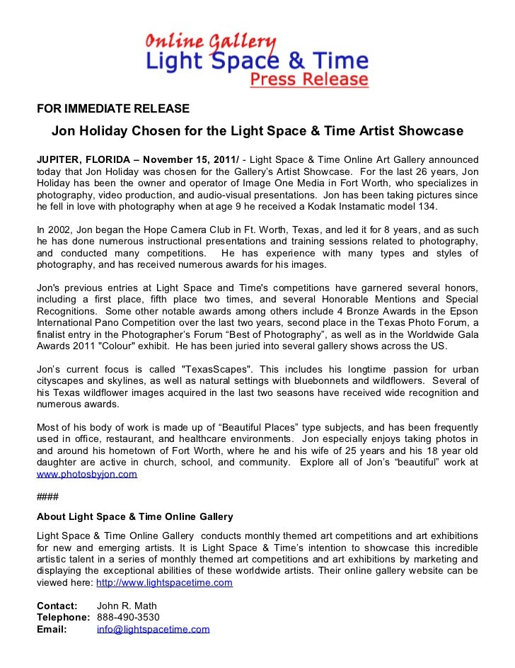 Jon Holiday Chosen for the Light Space & Time Artist Showcase