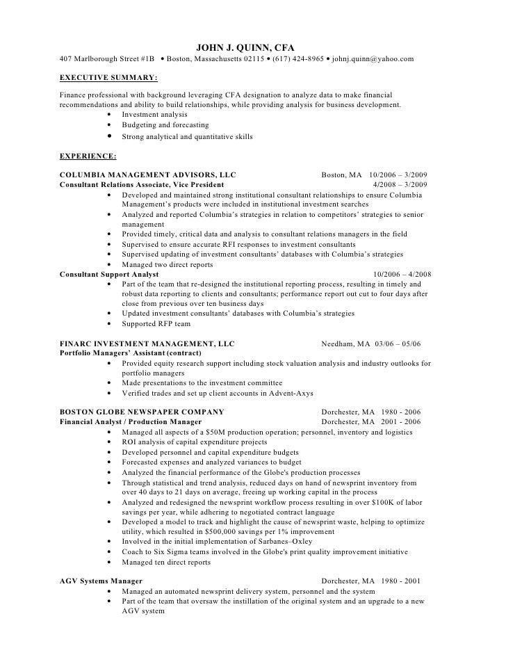John J Quinn Cfa Finance Resume