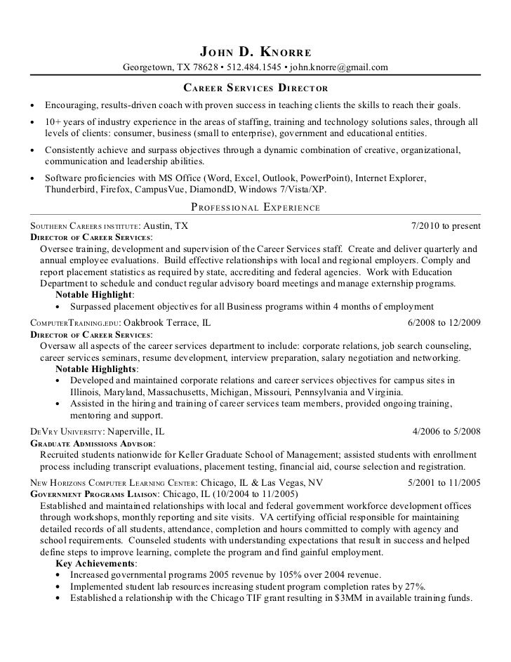 Objectives for admission counselors on resume