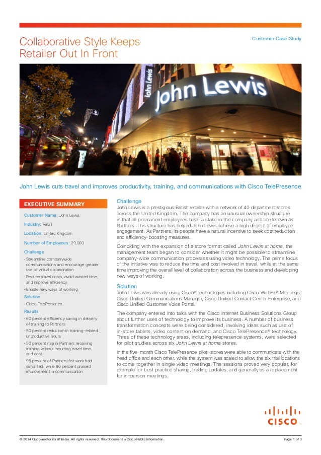 Collaborative Style Keeps Retailer Out In Front  Customer Case Study  John Lewis cuts travel and improves productivity, tr...