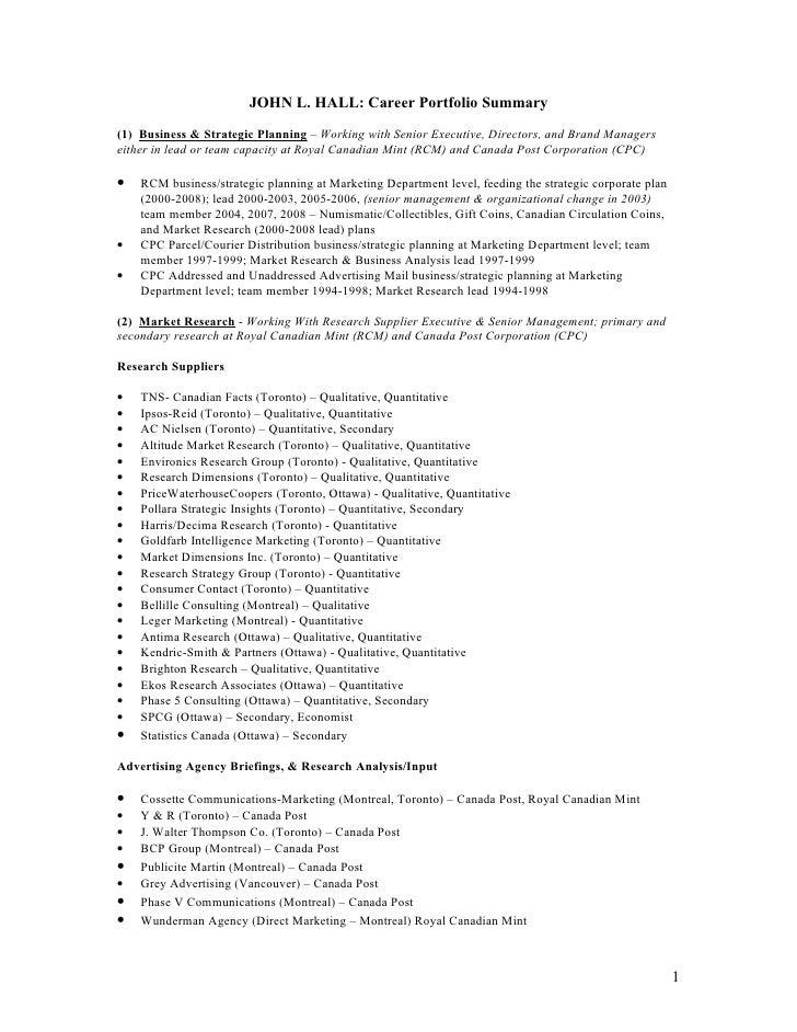 JOHN L. HALL: Career Portfolio Summary (1) Business & Strategic Planning – Working with Senior Executive, Directors, and B...