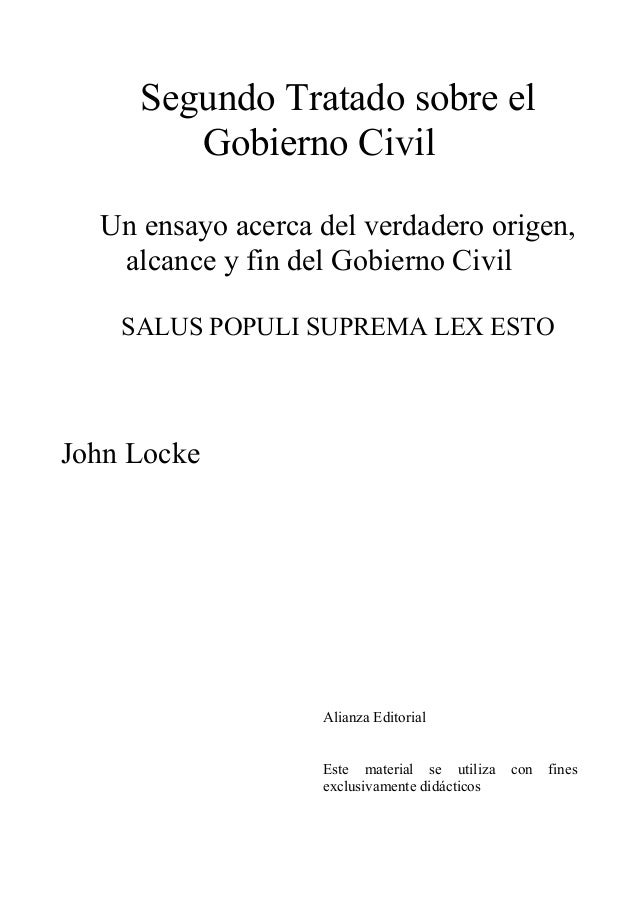John locke segundo tratado sobre el gobierno civil
