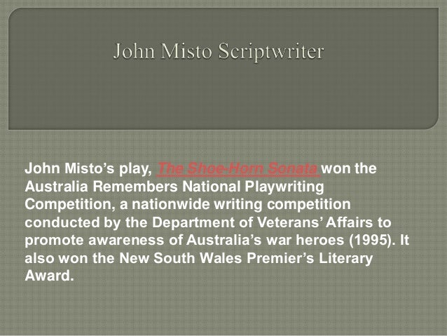 an analysis of the drama shoe horn sonata by john misto Emu heights theatre company presents the shoe-horn sonata by john misto drama, modern history or joan sutherland performing arts centre is at 597 high street.