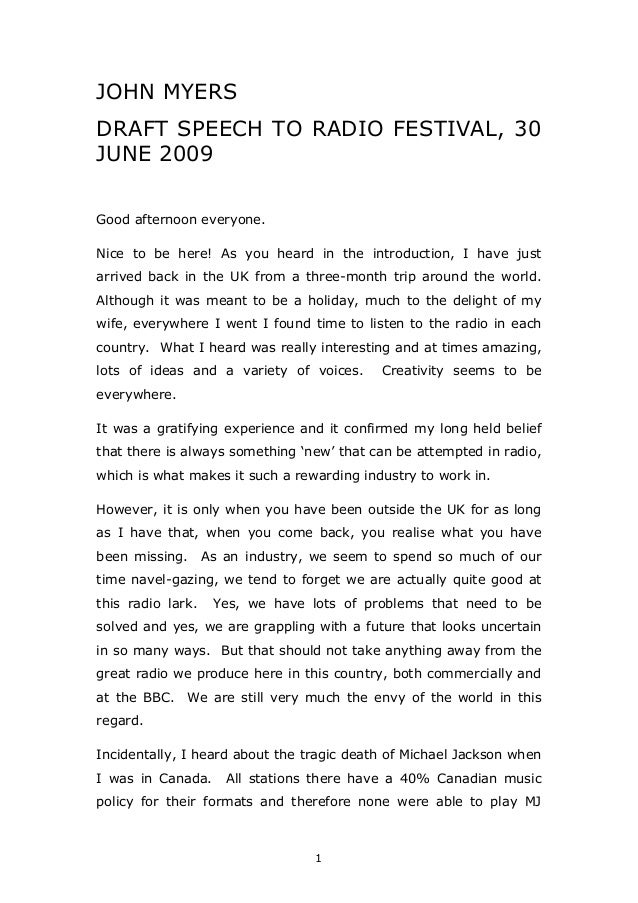 'Draft Speech By John Myers To The Radio Festival: 30 June 2009'