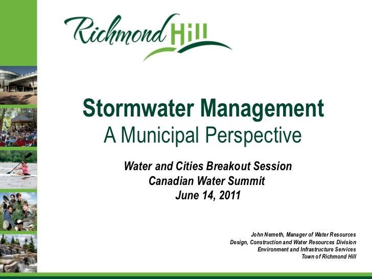 John Nemeth, Richmond Hill - Water & Cities