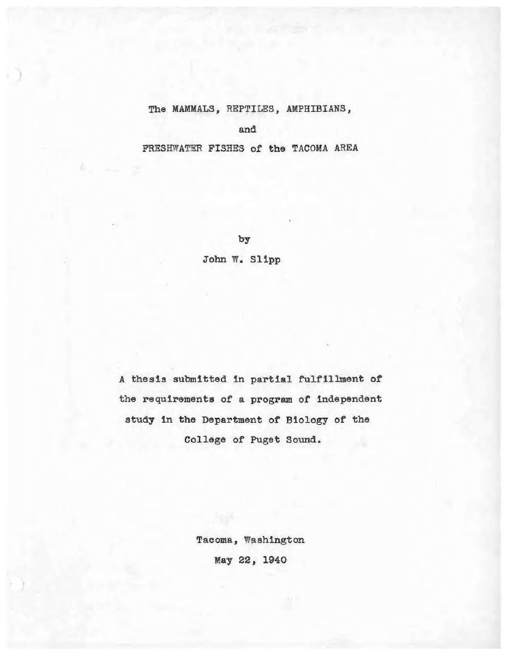 Thesis by John Slipp, 1940, for the Department of Biology, College of Puget Sound
