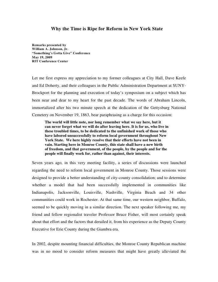 Johnson, B Speech To Suny Brockport Local Government Symposium, 5 19 09