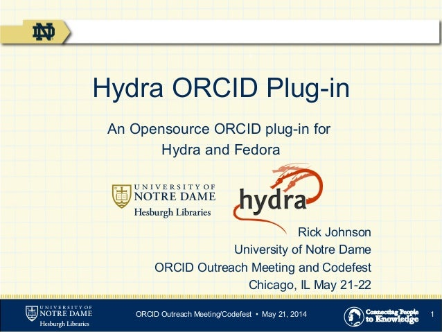 1 Hydra ORCID Plug-in An Opensource ORCID plug-in for Hydra and Fedora Rick Johnson University of Notre Dame ORCID Outreac...