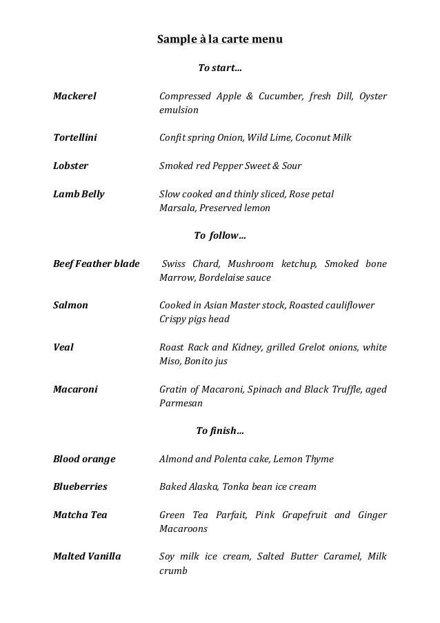Sample  à  la  carte  menu      To  start…      Mackerel        Compressed   Apple   &   Cuc...